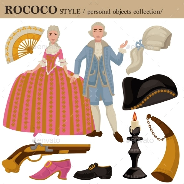 Rococo or 18 Century European Old Retro Fashion - Man-made Objects Objects