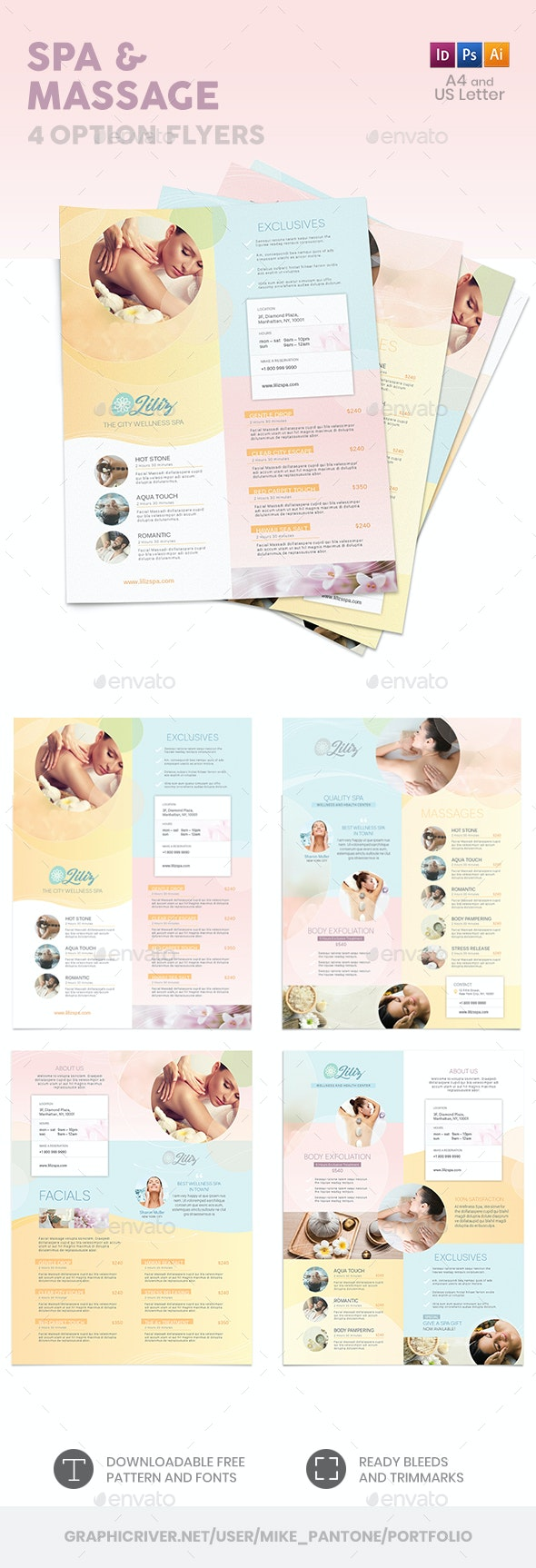Spa and Massage Flyers – 4 Options - Commerce Flyers