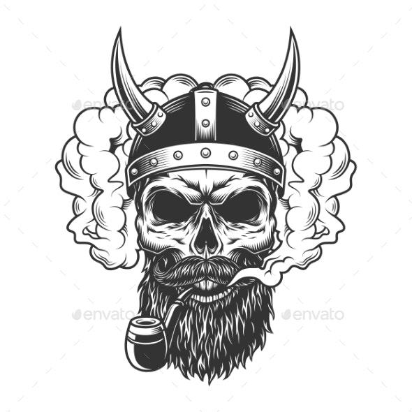 Skull in Smoke Cloud - Miscellaneous Vectors