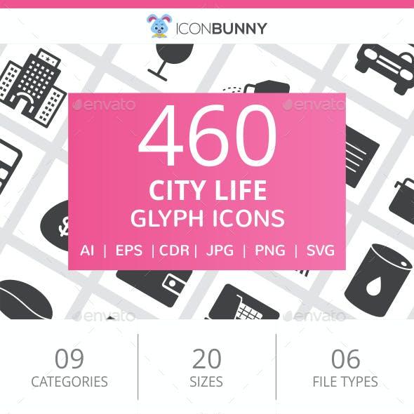 460 City Life Glyph Icons