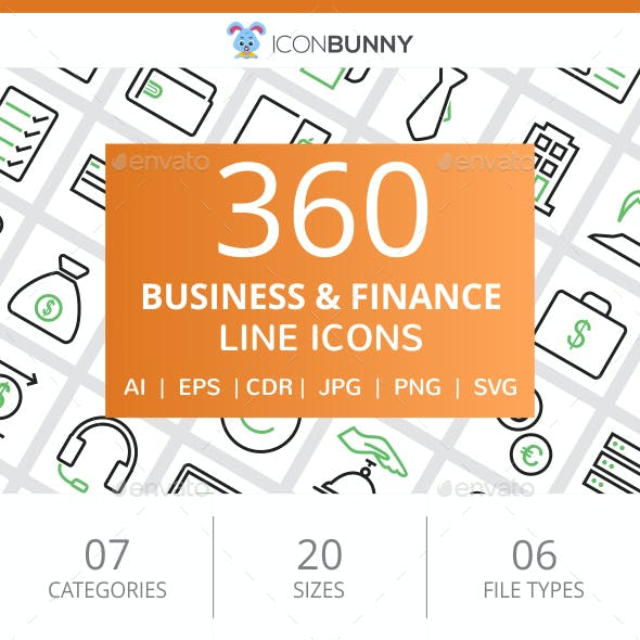 360 Business & Finance Line Green & Black Icons