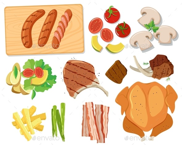 Various Sets Of Barbecue Food - Food Objects