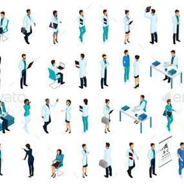 Isometrics a Large Set of Characters, People in Medical Clothes, a Doctor, a Surgeon, a Nurse