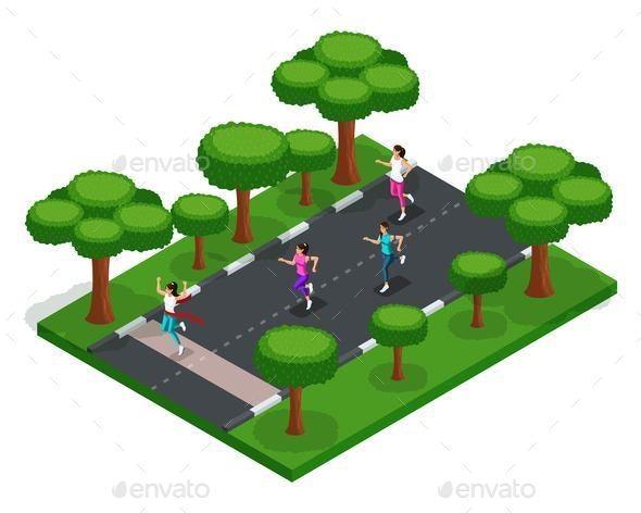 Isometric Park Outdoor Activities - Sports/Activity Conceptual