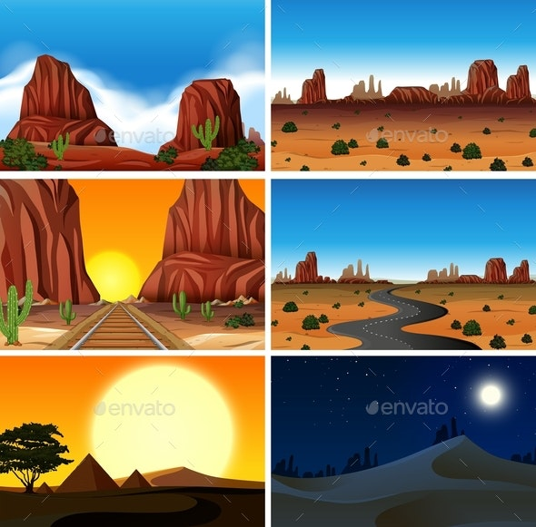Set Of Different Desert Scenes - Landscapes Nature