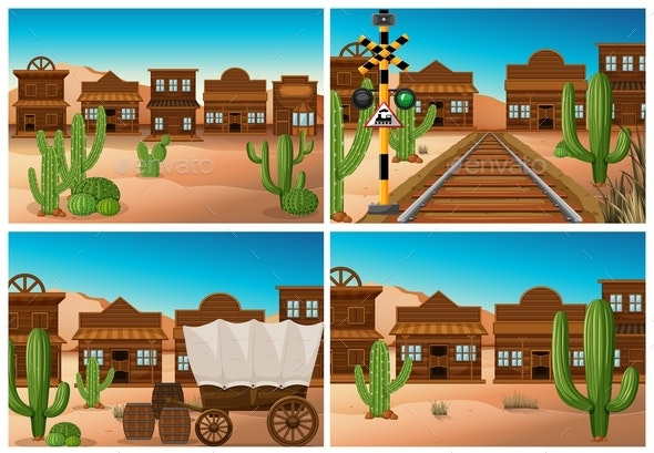 Set Of Wild West Town - Landscapes Nature