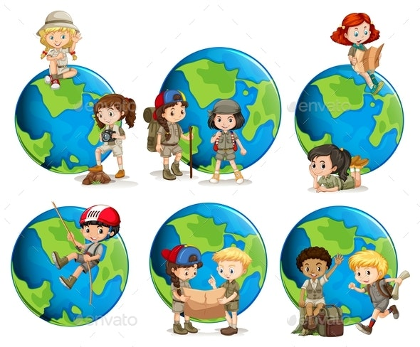 Set Of Children And Globes - People Characters