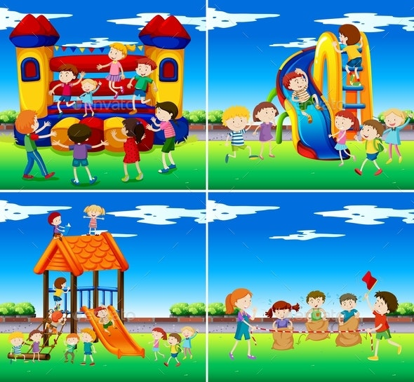 Set Of Children Playing - Sports/Activity Conceptual