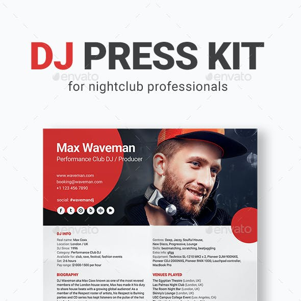 PromoDJ - DJ Press Kit / DJ Resume / DJ Rider PSD Template