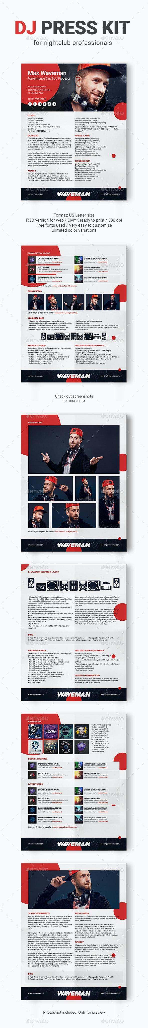 PromoDJ - DJ Press Kit / DJ Resume / DJ Rider PSD Template - Resumes Stationery