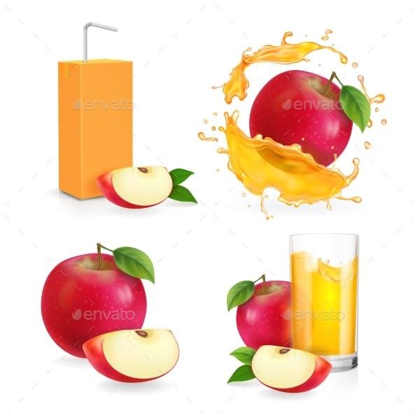 Realistic Apple Juice Splash