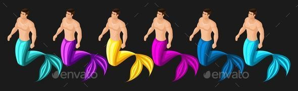 Isometric Male Mermaid - Animals Characters