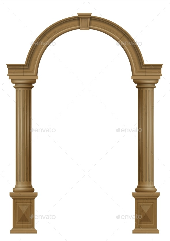 Wooden Arch of Portal Door with Columns - Buildings Objects