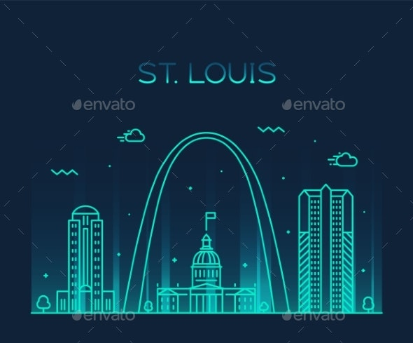 St. Louis City Skyline Missouri USA Vector Linear - Buildings Objects