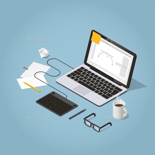 Isometric Freelancer Workspace Illustration - Concepts Business