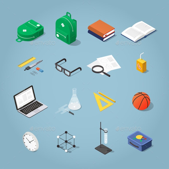 Isometric School Icon Set - Man-made Objects Objects