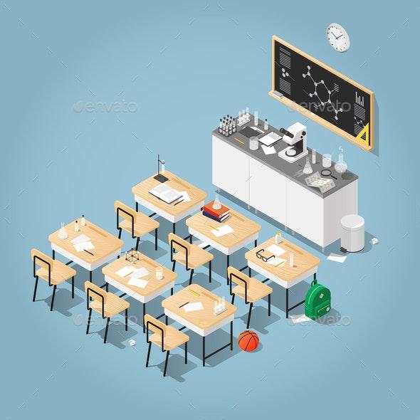 Isometric Chemistry Classroom Illustration - Miscellaneous Vectors