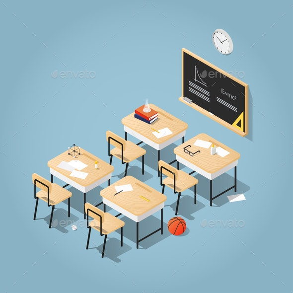 School Classroom Isometric Illustration - Man-made Objects Objects