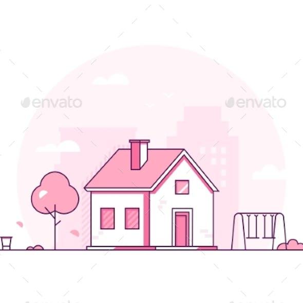 Cottage - Modern Thin Line Design Style Vector