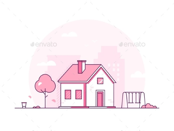 Cottage - Modern Thin Line Design Style Vector - Buildings Objects