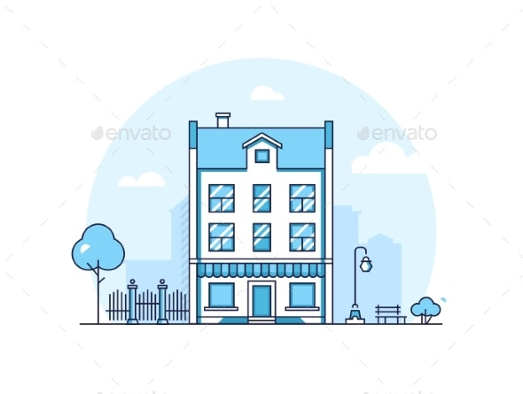 City Building - Modern Thin Line Design Style - Buildings Objects