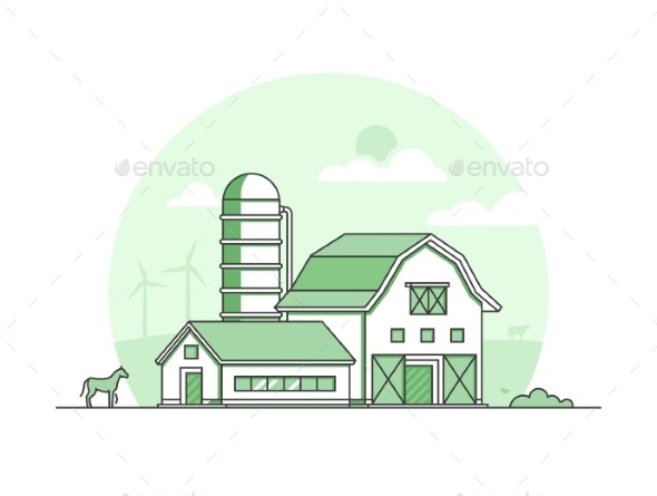 Village - Modern Thin Line Design Style Vector - Buildings Objects