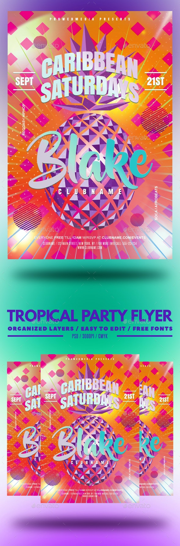 Tropical Party Flyer - Clubs & Parties Events