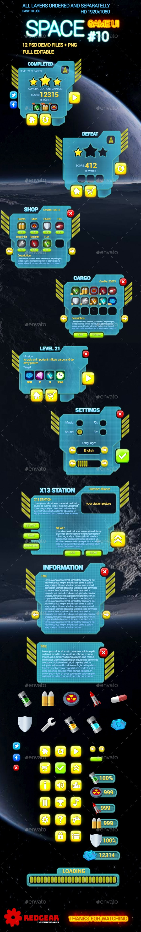Space Game UI #10 - User Interfaces Game Assets