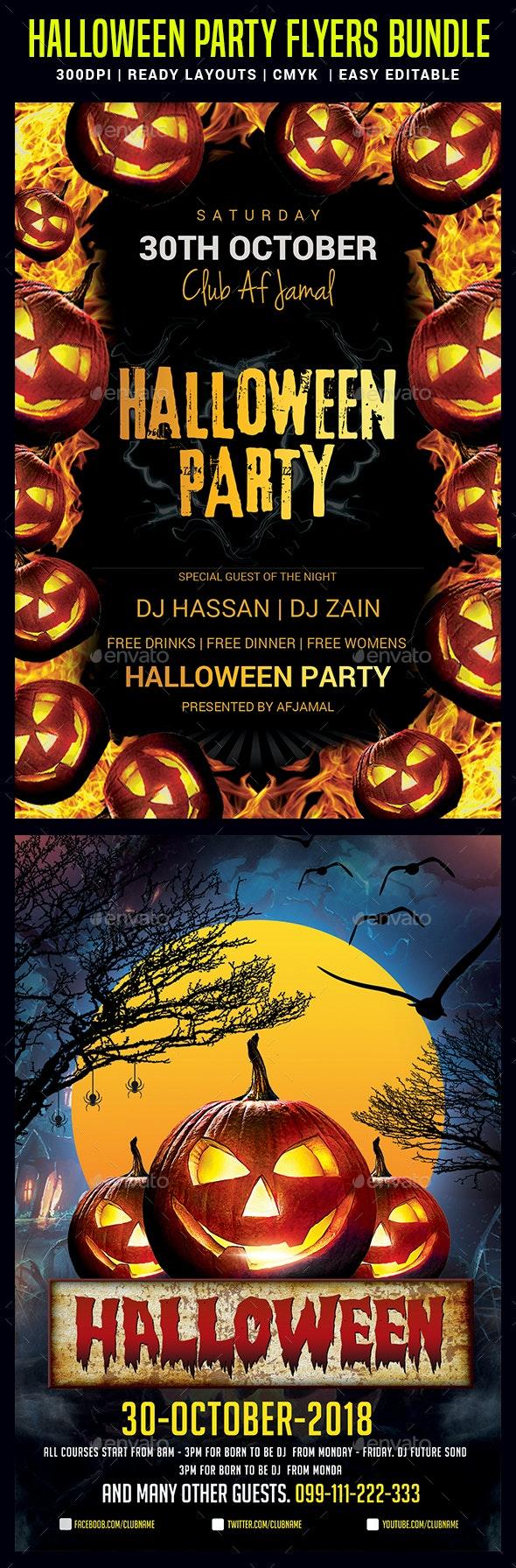 Halloween Party Flyers Bundle - Events Flyers