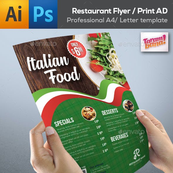 Easy Restaurant Flyer AD Template