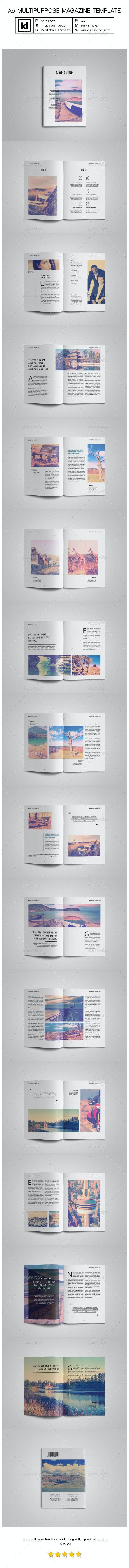 A5 Multipurpose Magazine Template II - Magazines Print Templates