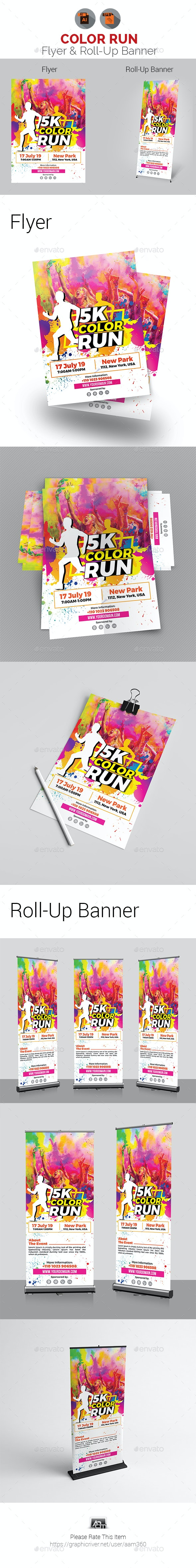 Color Run Event Flyer with Roll-Up Bundle - Sports Events