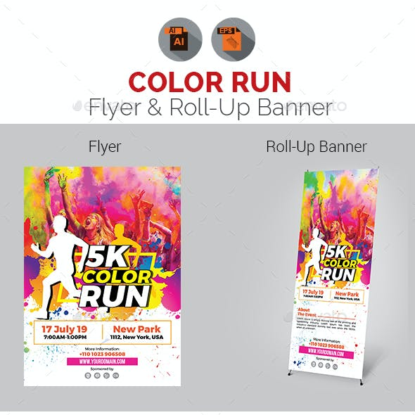 Color Run Event Flyer with Roll-Up Bundle