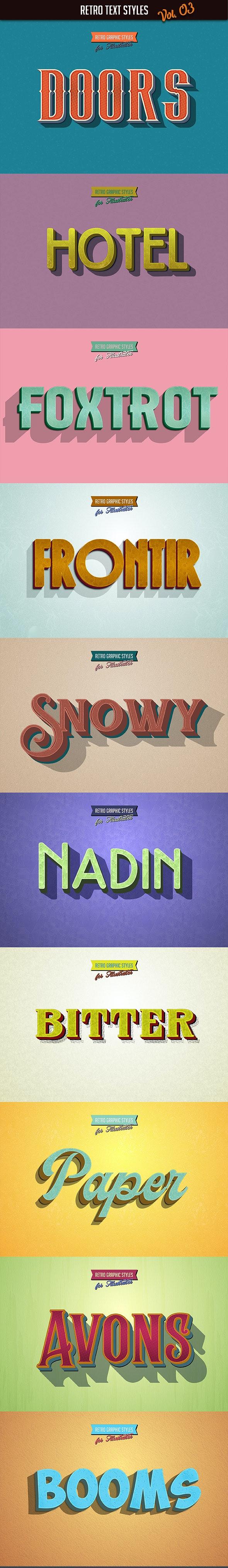 10 Retro Text Styles vol. 03 - Styles Illustrator