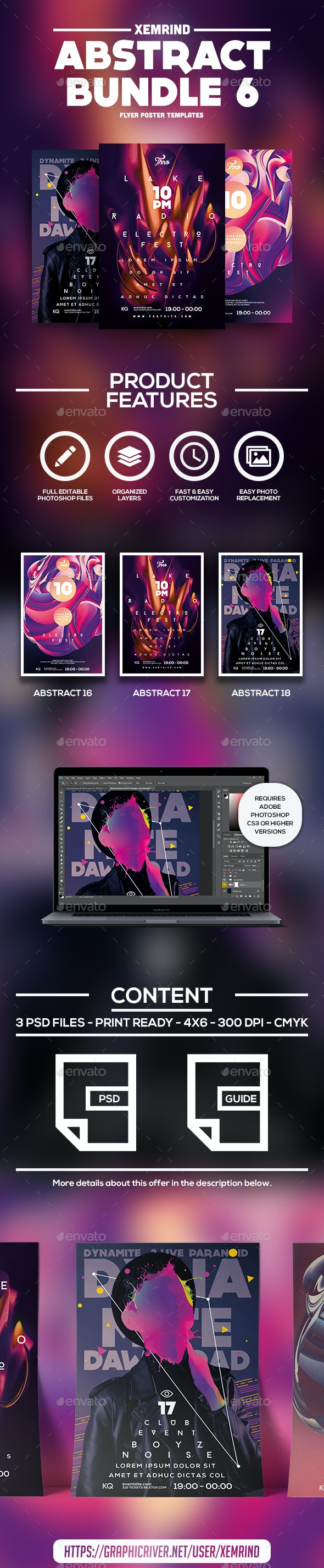 Abstract Flyer/Poster Template Bundle 6 - Events Flyers