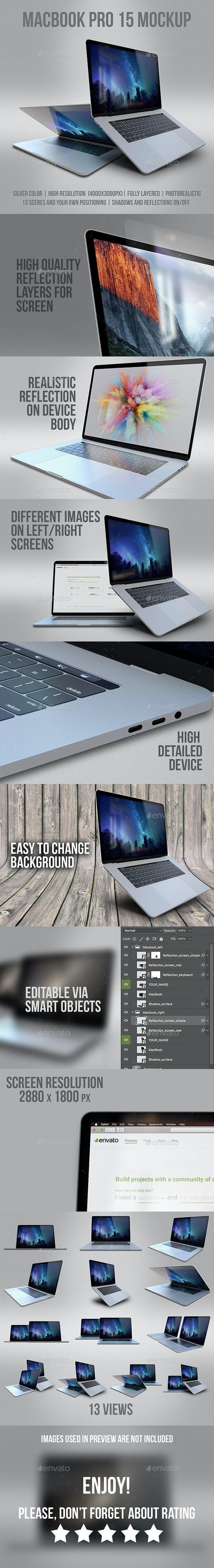 MacBook Pro 15 Mockup - Laptop Displays