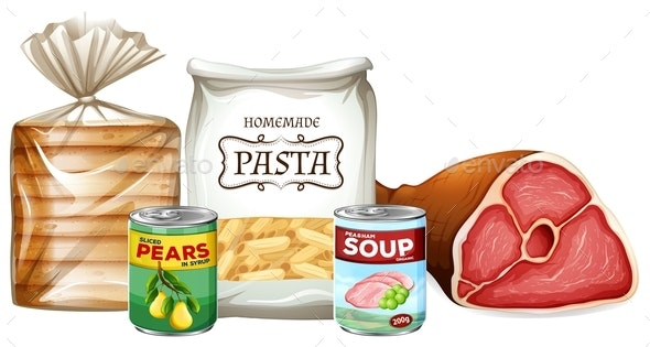 Set of Different Foods - Food Objects