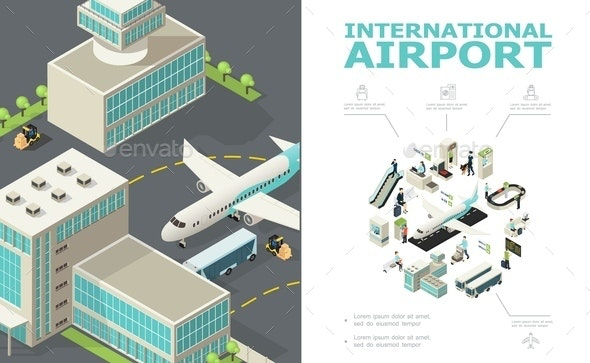 Isometric International Airport Composition - Travel Conceptual