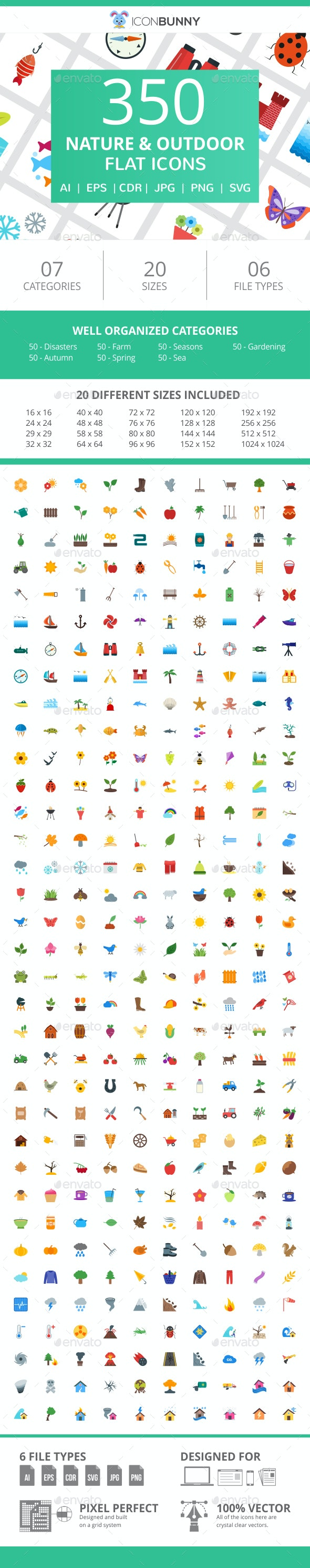 350 Nature & Outdoor Flat Icons - Icons