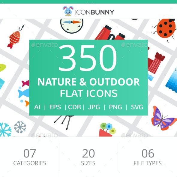 350 Nature & Outdoor Flat Icons