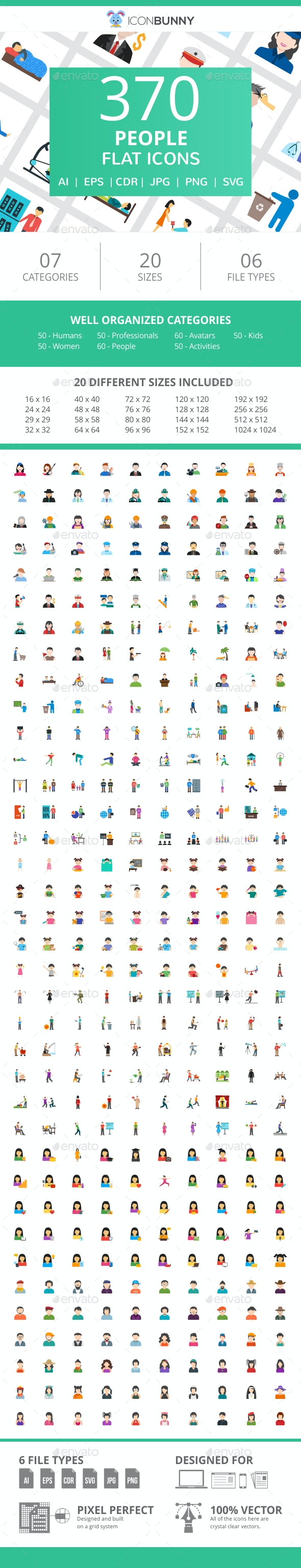 370 People Flat Icons - Icons