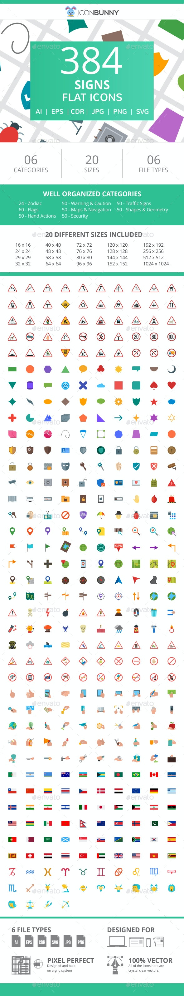 384 Sign Flat Icons - Icons