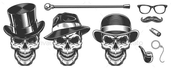Set of Gentlemen Skulls - Buildings Objects