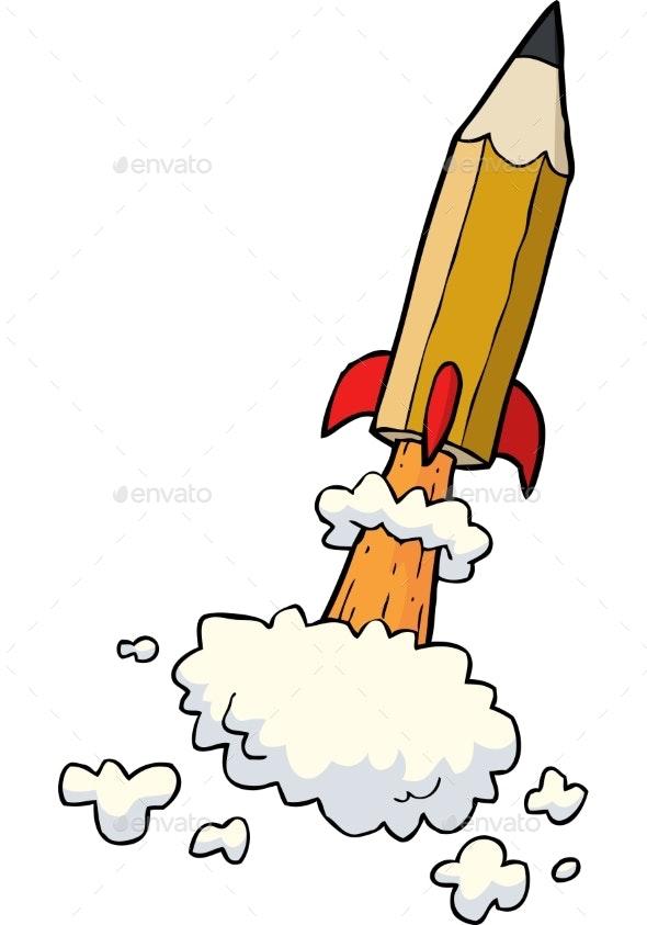Cartoon Pencil Rocket - Miscellaneous Vectors