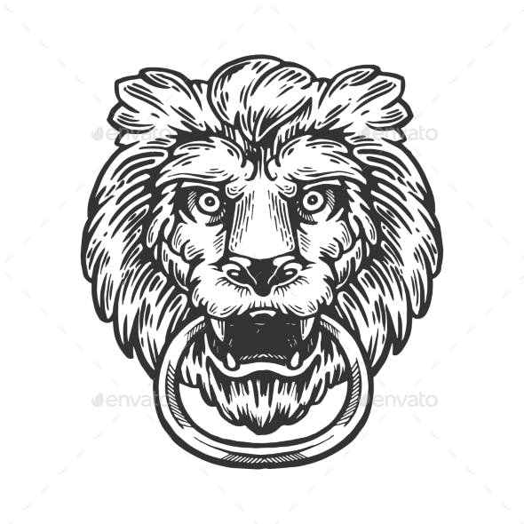 Lion Door Handle Engraving Vector Illustration