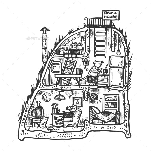 Mouse House Engraving Vector