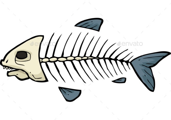 Fish Skeleton Doodle - Animals Characters