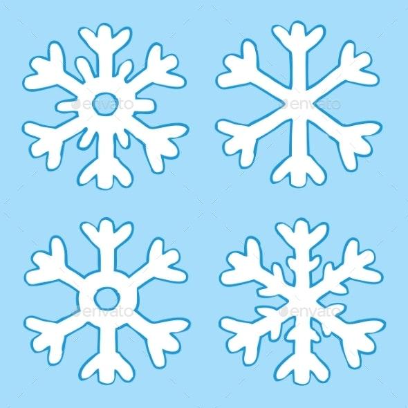 Cartoon Four Snowflakes - Seasons/Holidays Conceptual