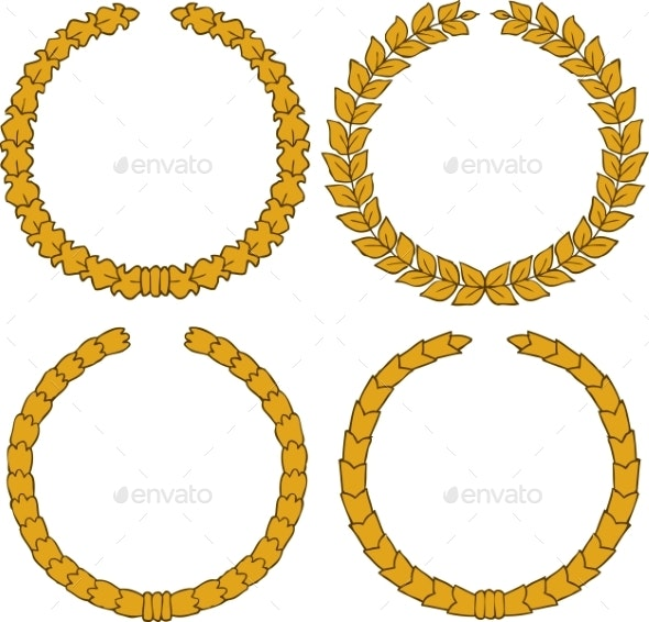 Four Yellow Wreath - Miscellaneous Vectors