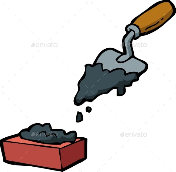 Doodle Trowel and Brick - Miscellaneous Vectors